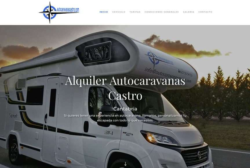 Web alquiler de Autocaravanas Castro